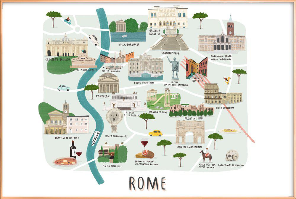 Rome Map as Poster in Aluminium Frame by Alex Foster | JUNIQE