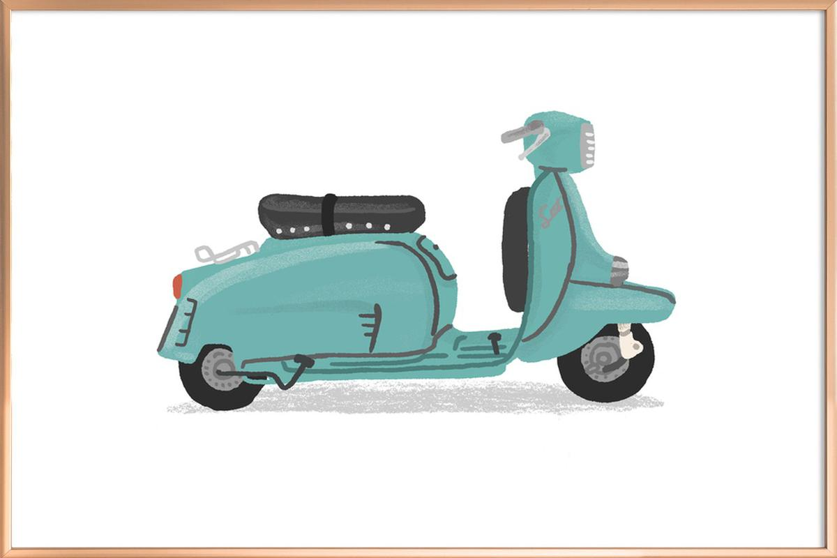 Scooter as Poster in Aluminium Frame by Alex Foster | JUNIQE