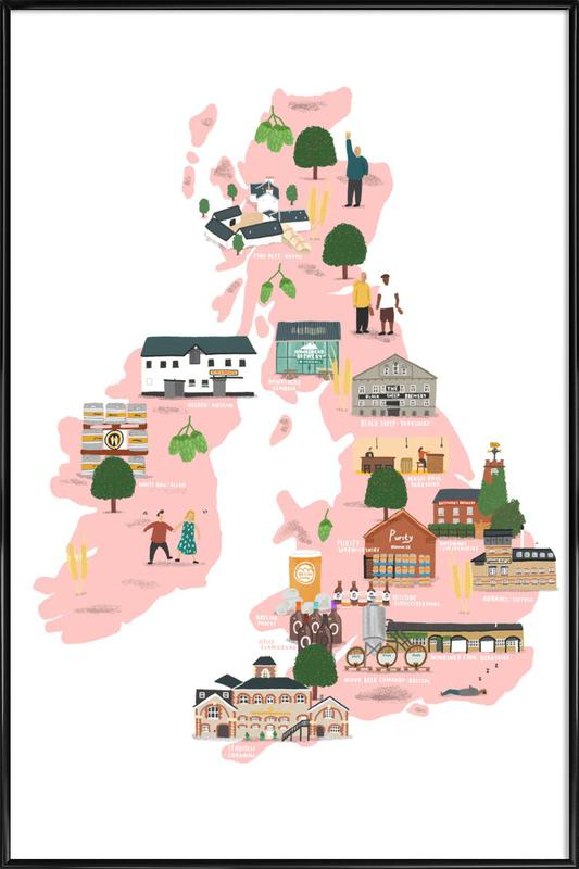UK & Ireland Beer Map as Poster in Standard Frame | JUNIQE