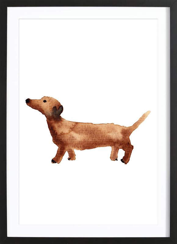 Sausage Dog as Poster in Wooden Frame by Farina Kuklinski | JUNIQE UK