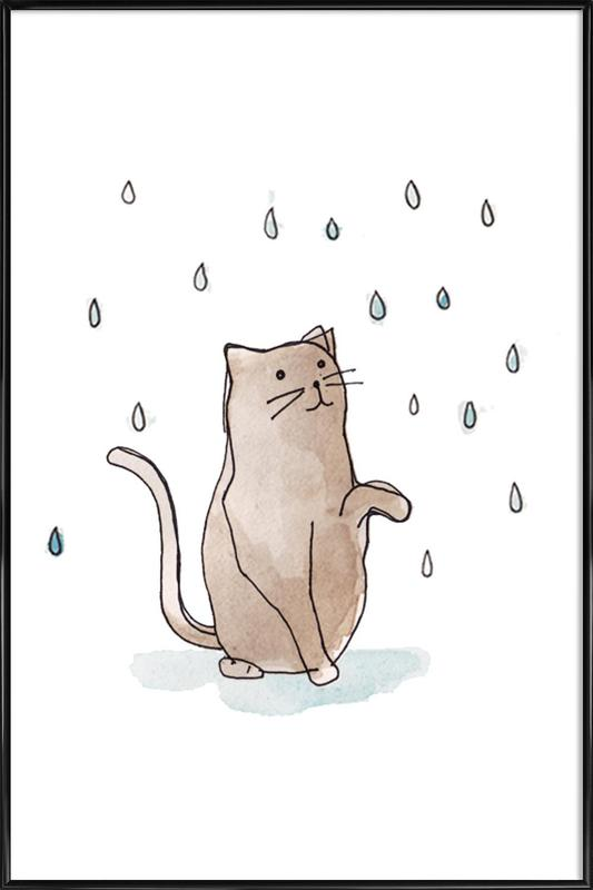 Cat in the Rain as Poster in Standard Frame | JUNIQE