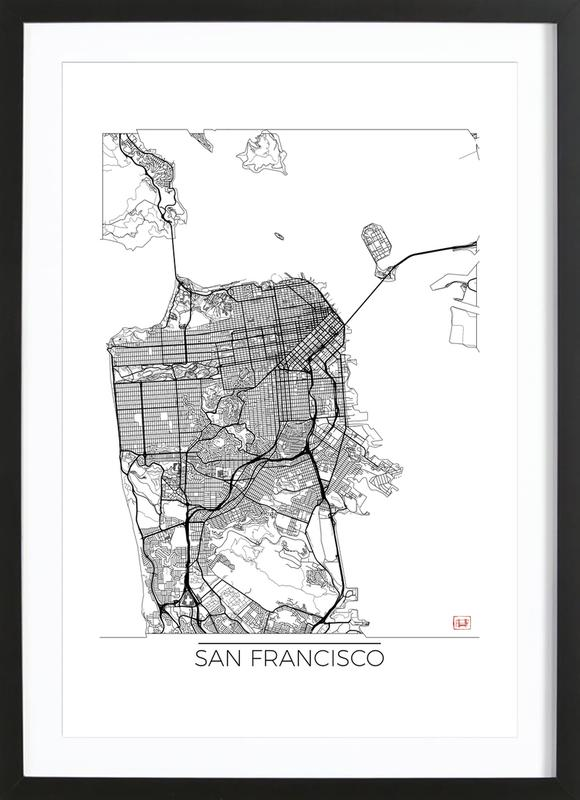San Francisco Minimal as Poster in Wooden Frame | JUNIQE