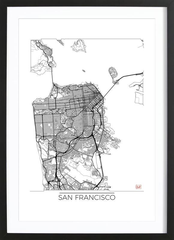 San francisco minimal als poster im holzrahmen juniqe for Minimal art kunstwerke