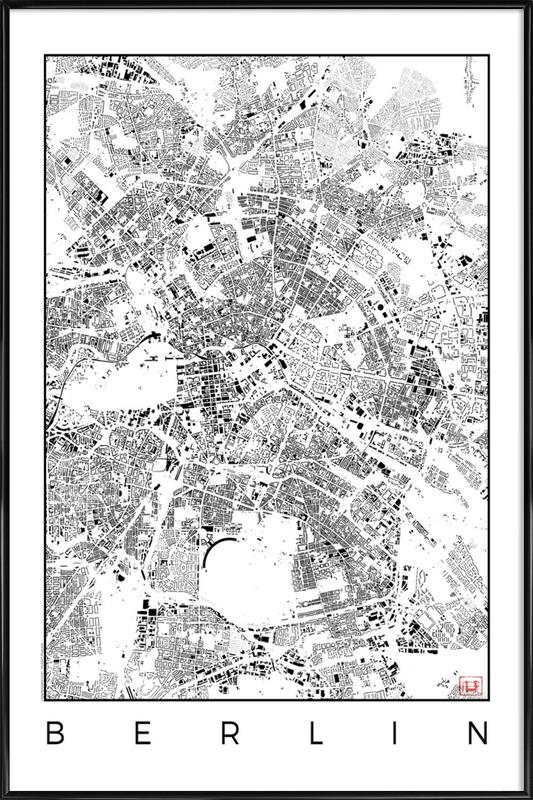 Berlin Map Schwarzplan as Poster in Standard Frame | JUNIQE