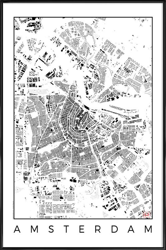 Amsterdam Map Schwarzplan as Poster in Standard Frame | JUNIQE
