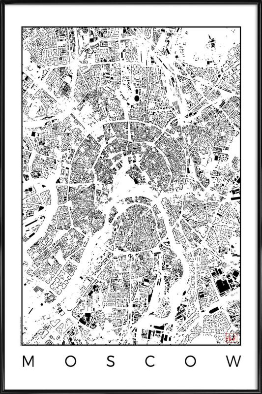 Moscow Map Schwarzplan as Poster in Standard Frame | JUNIQE UK