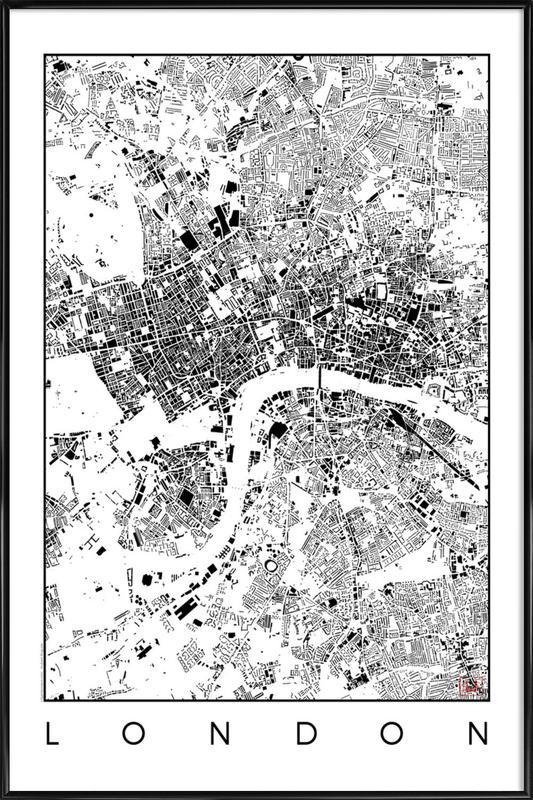London Map Schwarzplan as Poster in Standard Frame | JUNIQE