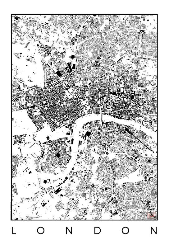 London Map Schwarzplan as Acrylic Glass Print JUNIQE