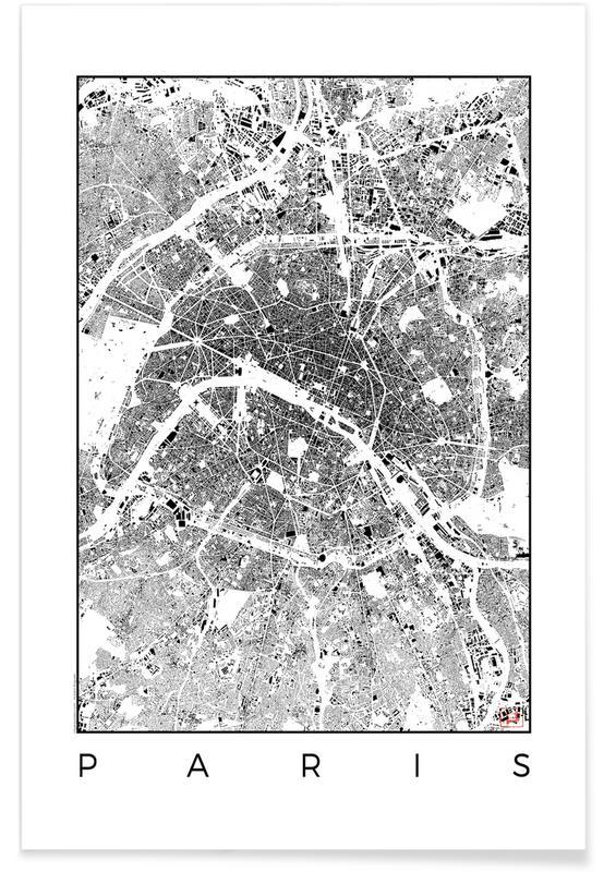 Paris Map Black And White.Paris Map Schwarzplan As Poster By Hubert Roguski Juniqe
