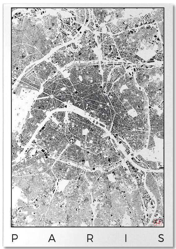 Paris Map Black And White.Paris Map Schwarzplan As Notepad By Hubert Roguski Juniqe