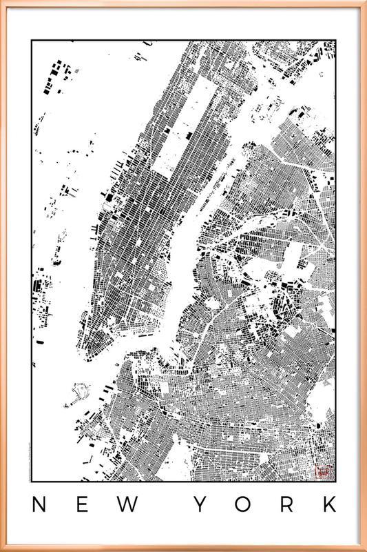 New York Map Schwarzplan As Poster In Aluminium Frame Juniqe