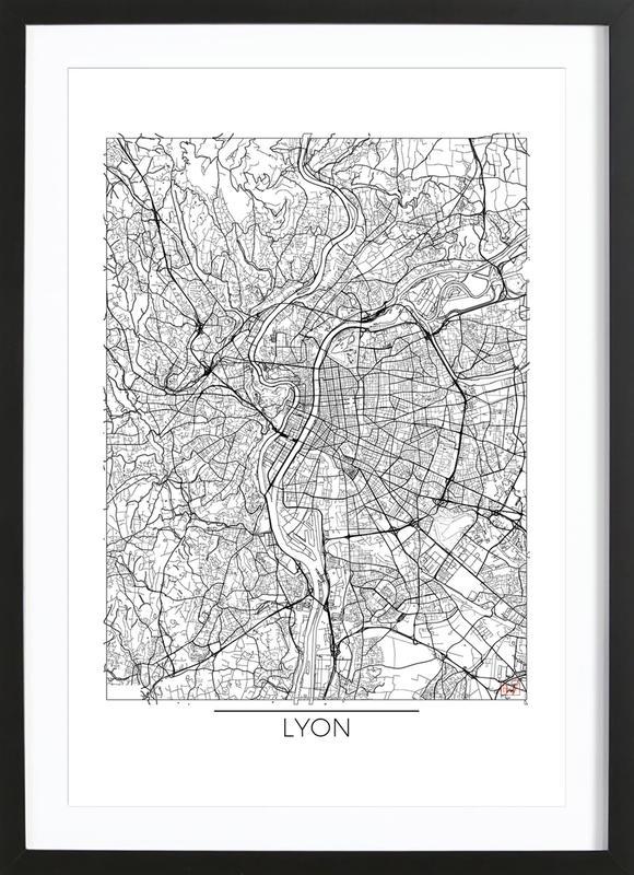 Lyon minimal als poster im holzrahmen von hubert roguski for Minimal art kunstwerke