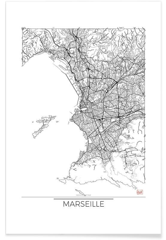Marseille minimal als premium poster von hubert roguski for Minimal art kunstwerke