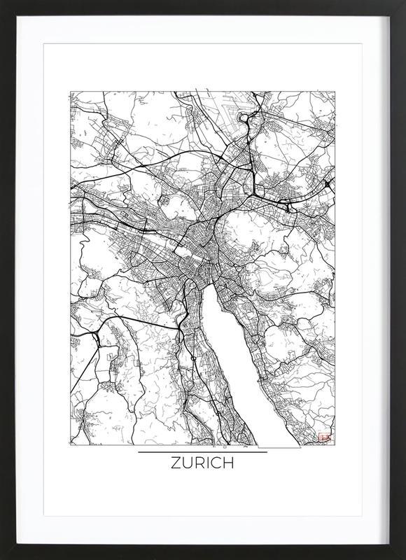 Zurich minimal als poster im holzrahmen von hubert roguski for Minimal art kunstwerke