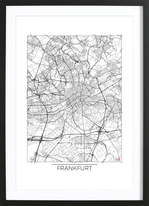 Frankfurt Minimal frankfurt minimal as poster in wooden frame by hubert roguski juniqe