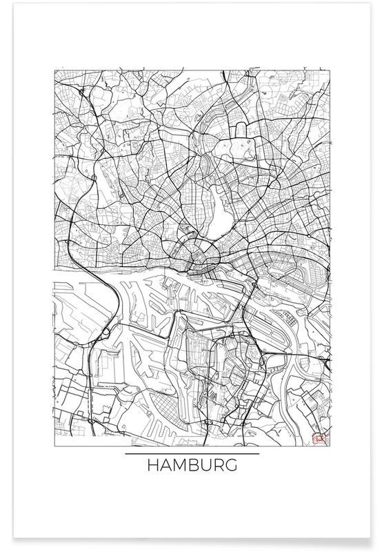 Hamburg minimal als premium poster von hubert roguski juniqe for Minimal art kunstwerke