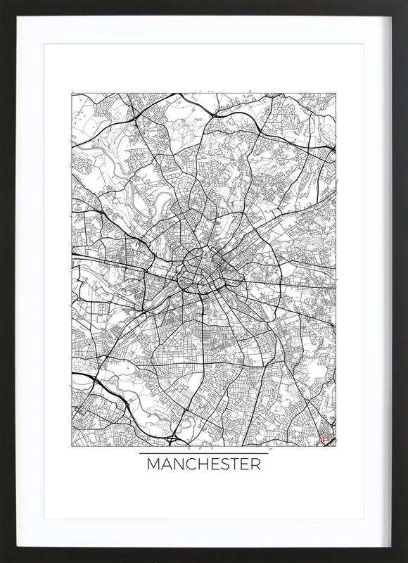 Manchester minimal als poster im holzrahmen juniqe for Minimal art kunstwerke