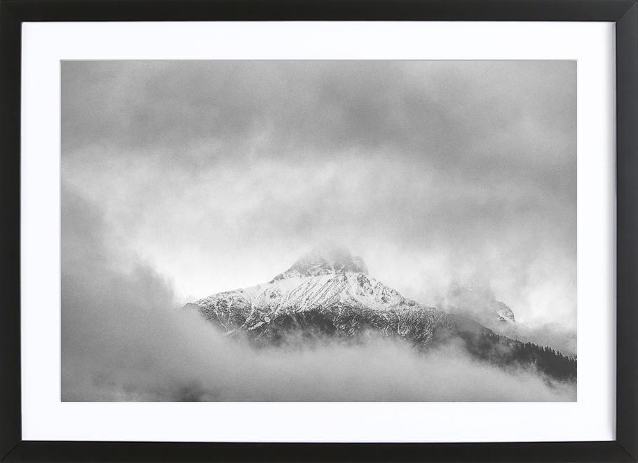 Peak in the Clouds as Poster in Wooden Frame by Nur Mut   JUNIQE
