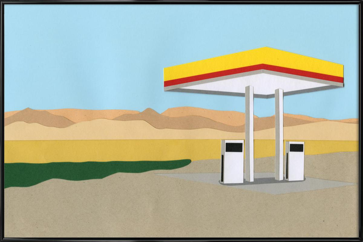 Gas Station Death Valley as Poster in Standard Frame | JUNIQE