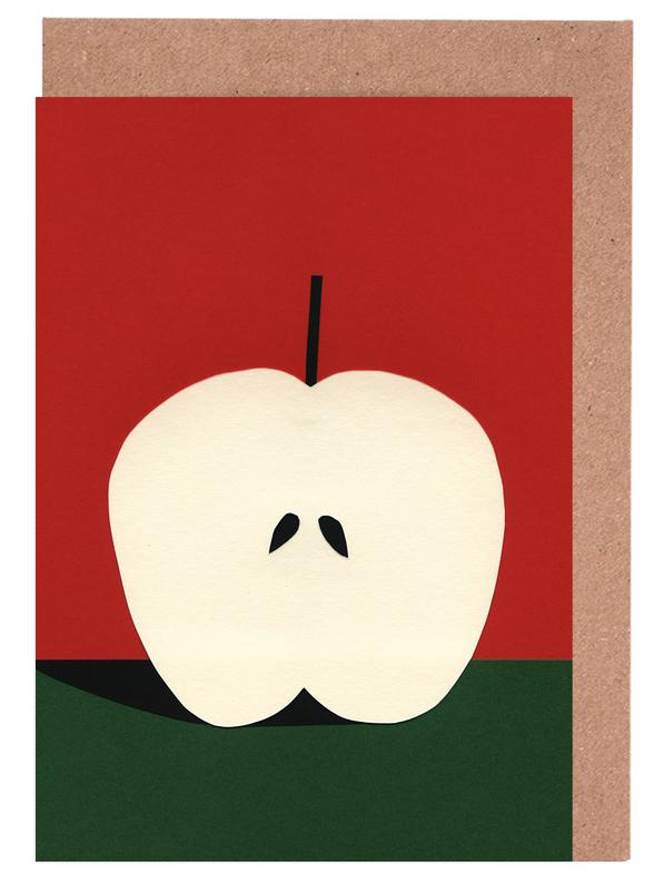 Half red apple as greeting card set by rosi feist juniqe m4hsunfo