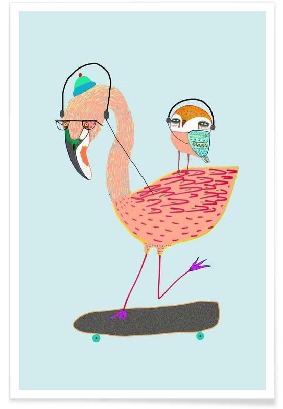 Flamingo And Owl Headphones As Premium Poster Juniqe