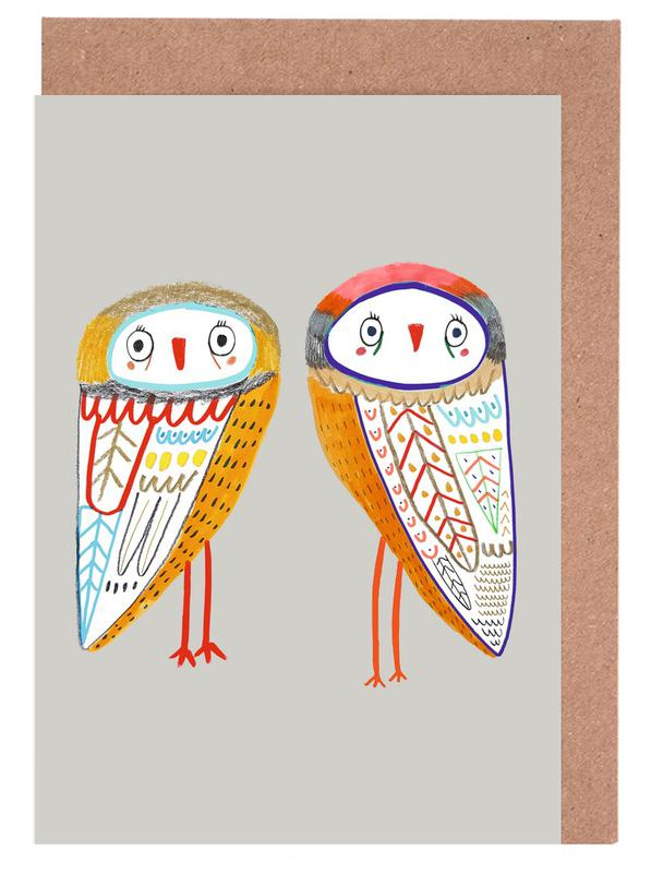 2 owls as greeting card set by ashley percival juniqe m4hsunfo