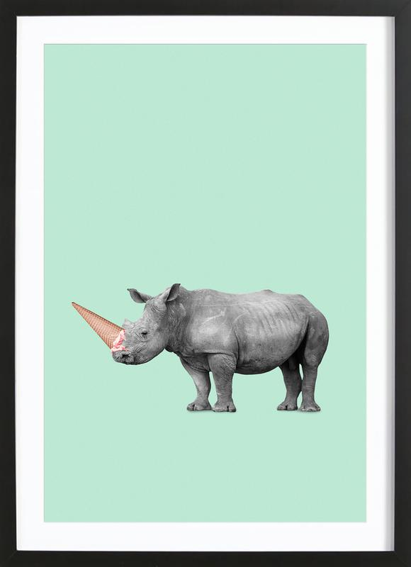 Ice Cream Rhino as Poster in Wooden Frame by Jonas Loose | JUNIQE