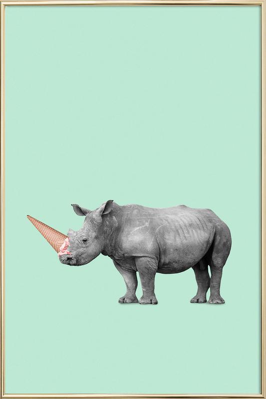 Ice Cream Rhino as Poster in Aluminium Frame by Jonas Loose | JUNIQE