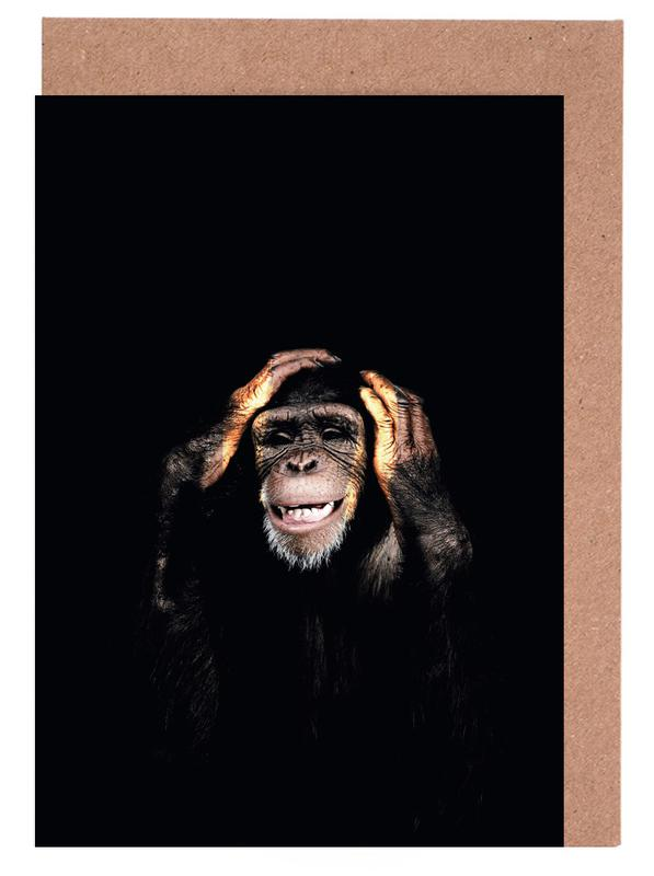 Monkey hear no evil as greeting card set by wouter rikken juniqe home stationery greeting cards m4hsunfo