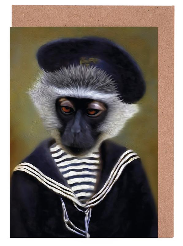 The sad monkey as greeting card set by lanimorphe juniqe uk home stationery greeting cards m4hsunfo