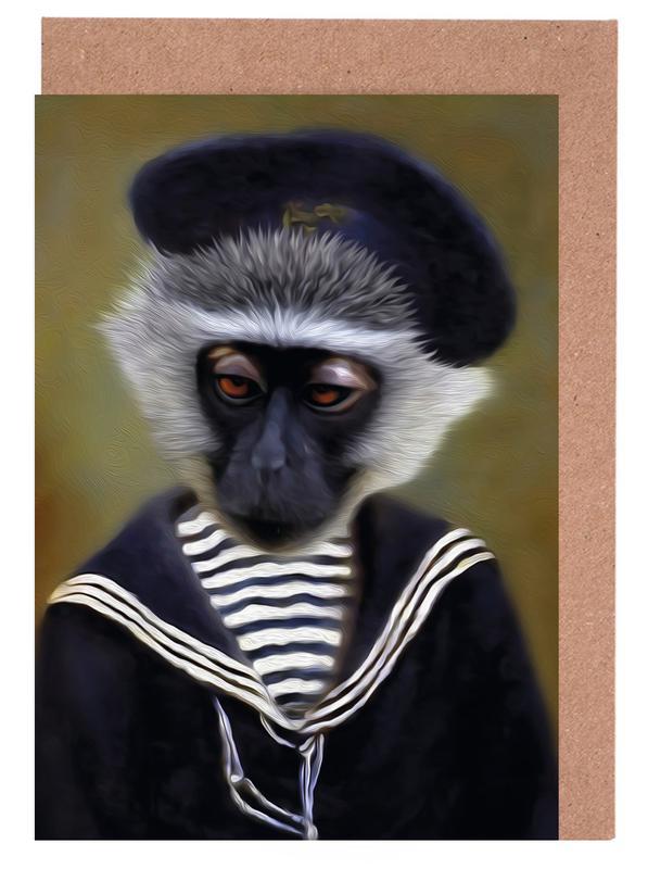 The sad monkey as greeting card set by lanimorphe juniqe m4hsunfo
