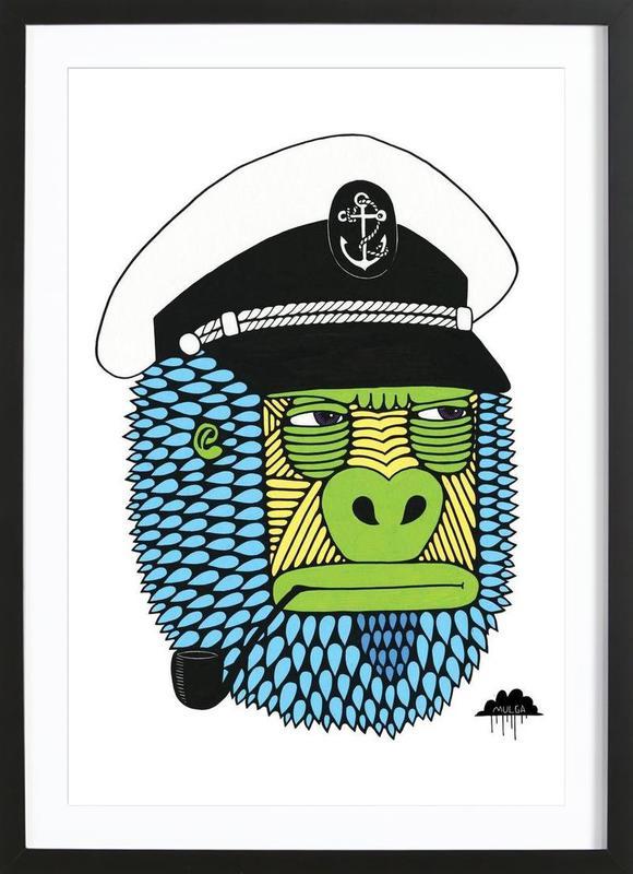 captain gorilla als poster im holzrahmen von mulga juniqe. Black Bedroom Furniture Sets. Home Design Ideas