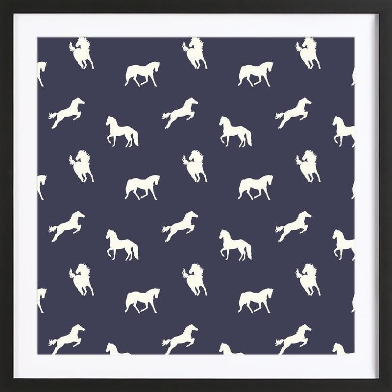 Horse Print Navy Slate Als Poster Im Holzrahmen Juniqe