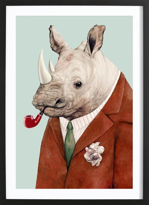 Rhino as Poster in Wooden Frame by Animal Crew | JUNIQE UK