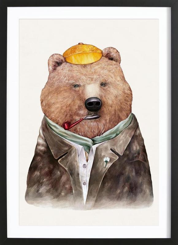 brown bear als poster im holzrahmen von animal crew juniqe. Black Bedroom Furniture Sets. Home Design Ideas