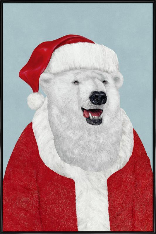 Polar Bear Santa as Poster in Standard Frame by Animal Crew | JUNIQE
