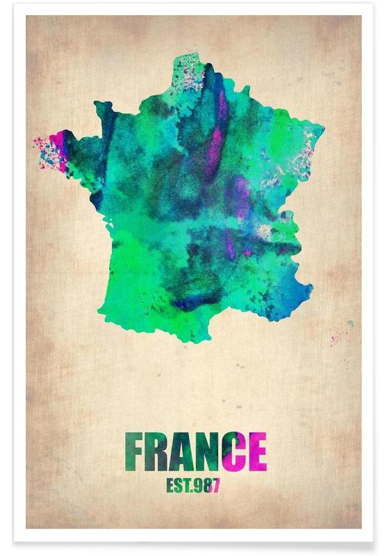 Map France 987.France Watercolor Map As Poster By Naxart Juniqe Uk