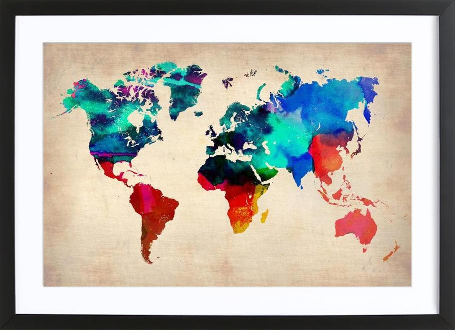 World watercolor map as poster in wooden frame by naxart juniqe uk gumiabroncs Images