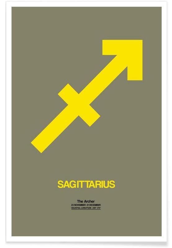 Sagittarius Zodiac Sign Yellow Als Premium Poster Door Naxart Juniqe