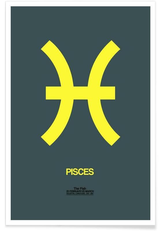 Pisces Zodiac Sign Yellow Als Premium Poster Door Naxart Juniqe