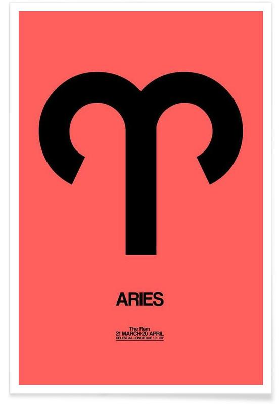 Aries Zodiac Sign Black as Poster by Naxart | JUNIQE UK