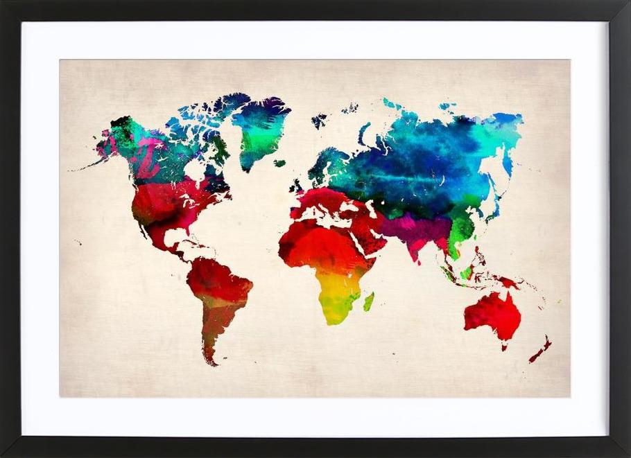 World map as poster in wooden frame by naxart juniqe uk gumiabroncs Images