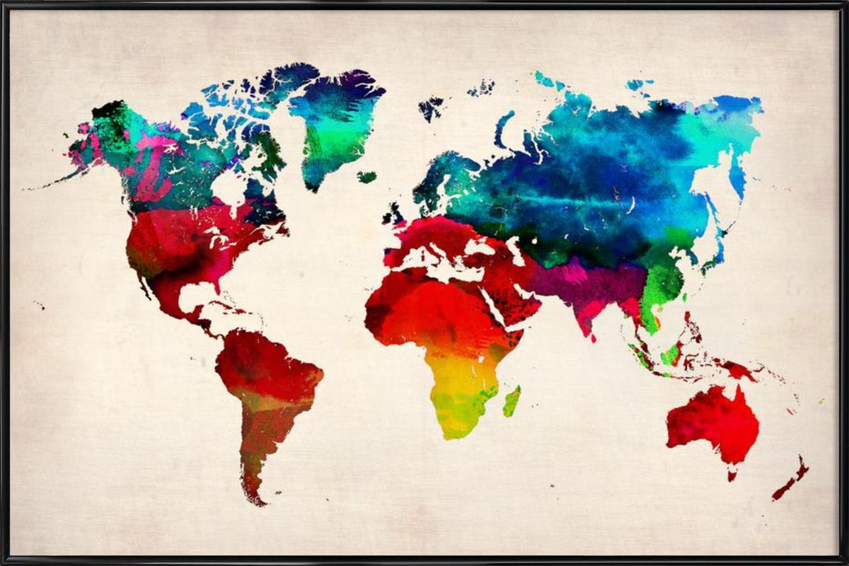 world map as poster in standard frame by naxart juniqe. Black Bedroom Furniture Sets. Home Design Ideas
