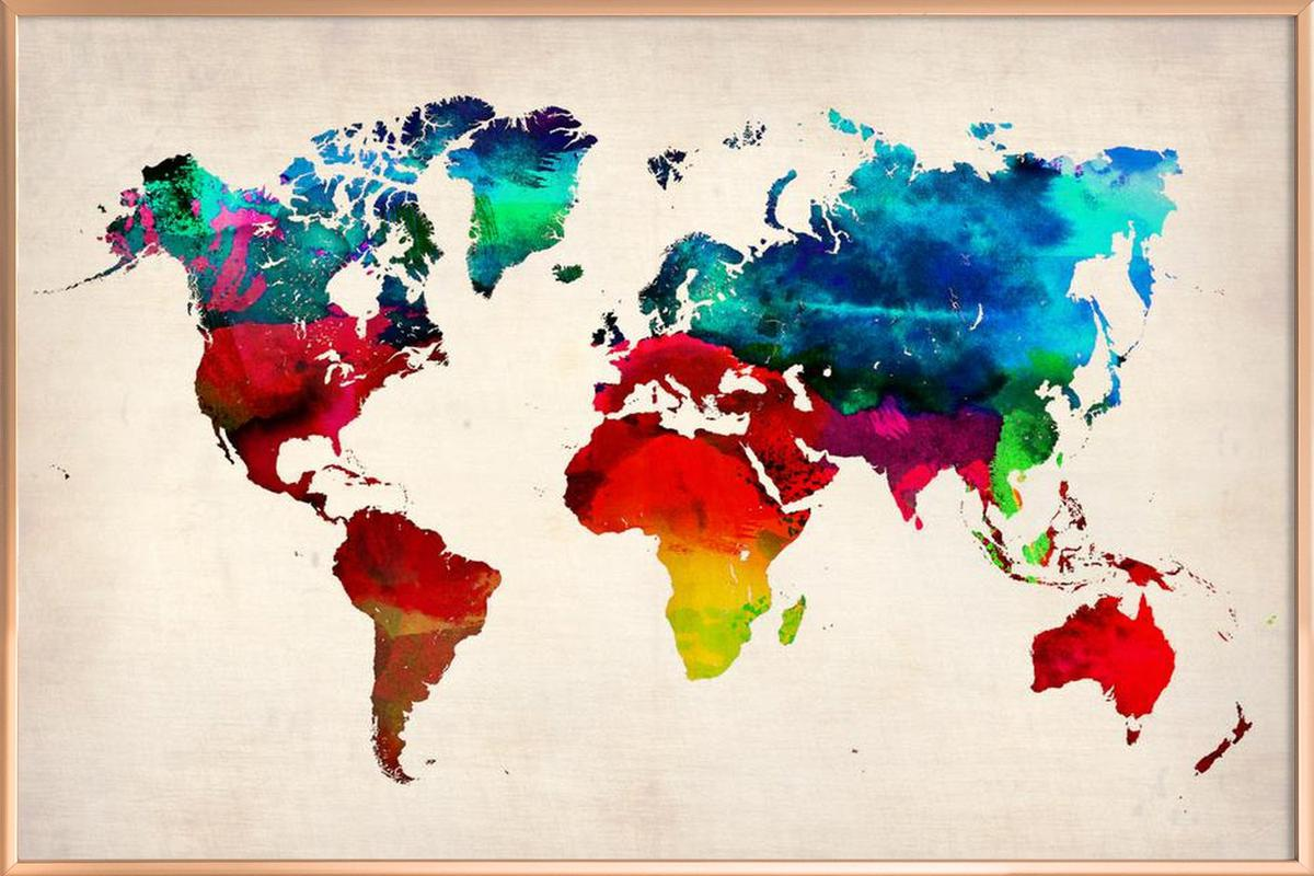 World map as poster in aluminium frame by naxart juniqe home wall art posters in aluminium frames gumiabroncs Images