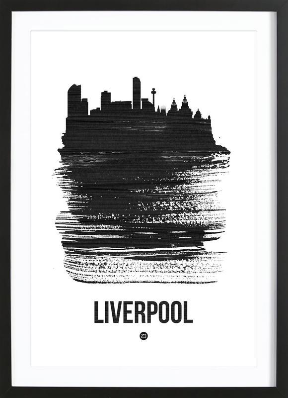 Liverpool Skyline Brush Stroke as Poster in Wooden Frame | JUNIQE UK