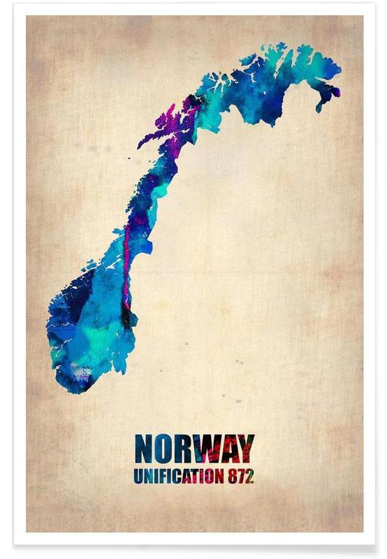 norway watercolor map as premium poster by naxart juniqe uk