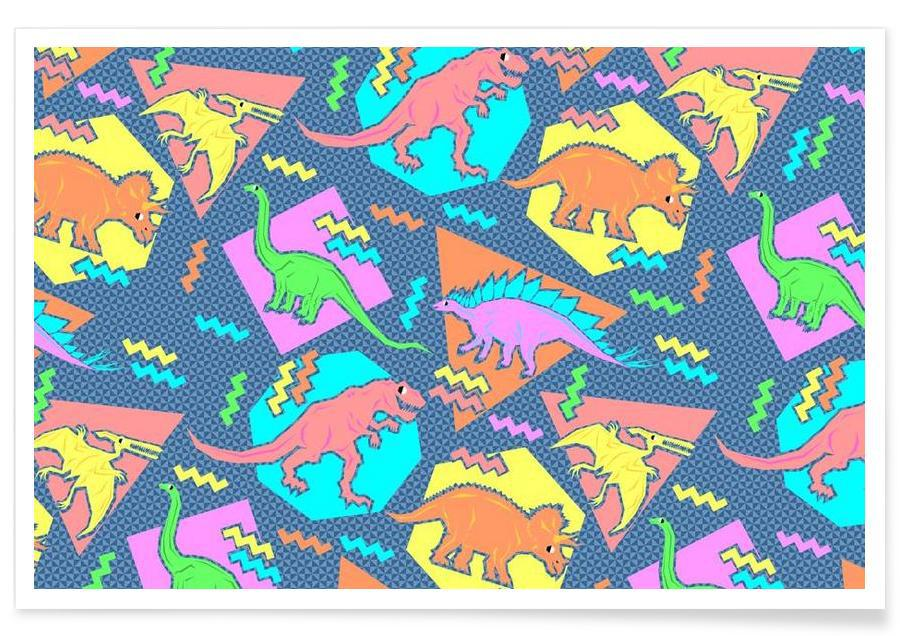 90 S Dinosaur Pattern As Premium Poster By Chobopop