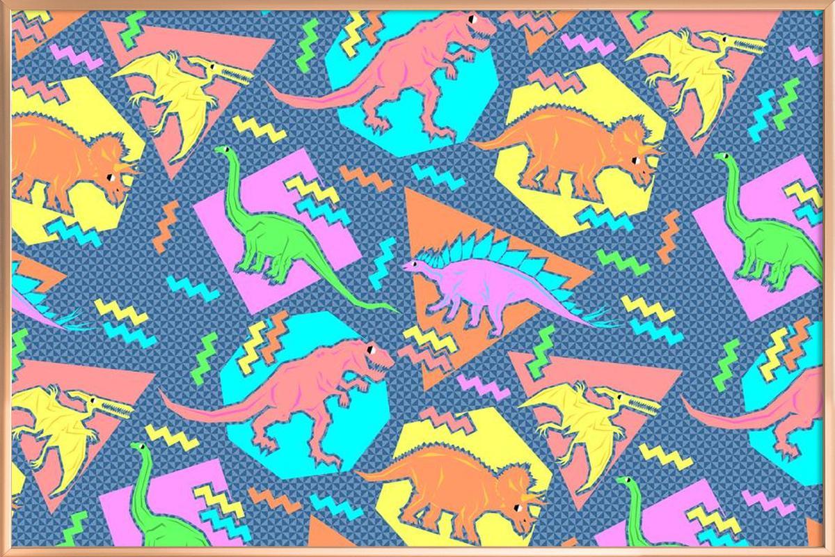 90 s dinosaur pattern as poster in aluminium frame juniqe