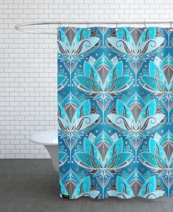 Art Deco Teal Lotus Pattern