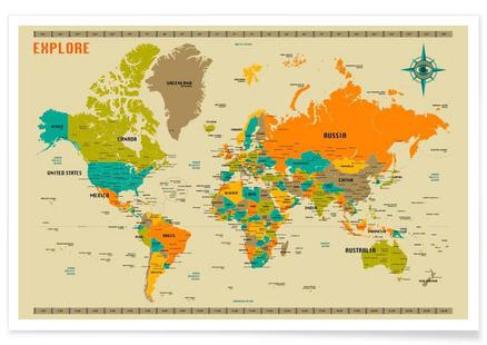 premium selection 58bc2 94782 New World Mapby Jazzberry BluePosterfrom € 6,99